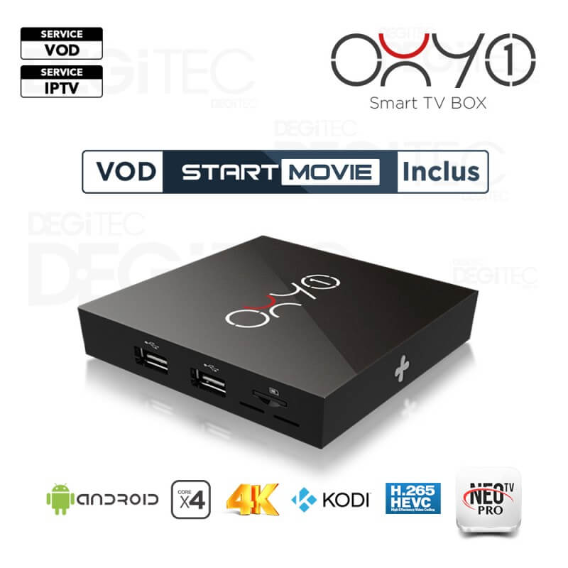 OXY ONE SMART TV BOX 4K, H.265, Amlogic S905X Quad Core ARM Cortex, 8 Gb, Android 6.0 + 1An OXY IPTV + 1 An Start Movies